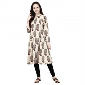 Molcha Traditional Hand Block Printed '100% Cotton,Long Kurta With Collar And Front Open With Button Clousure