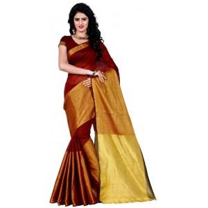 Muta Fashion Women Free Size Cotton Polyester Silk saree  Maroon