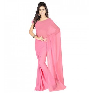 Muta Fashions Women With Blouse Piece Free Size Georgette saree Pink