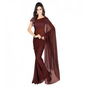 Muta Fashion Georgette Plain Classic Women Saree Brown