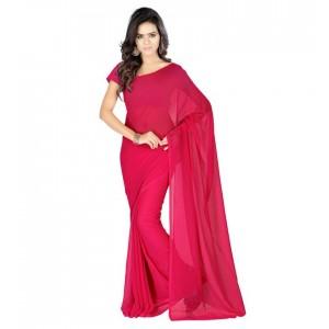 Muta Fashion Georgette Plain Classic Women Saree Pink