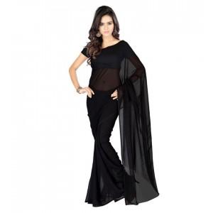 Muta Fashion Georgette Plain Classic Women Saree Black