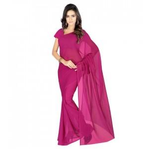 Muta Fashion Georgette Plain Classic Women Saree Dark Pink