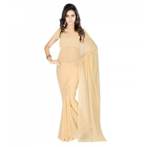 Muta Fashion Georgette Plain Classic Women Saree Beige