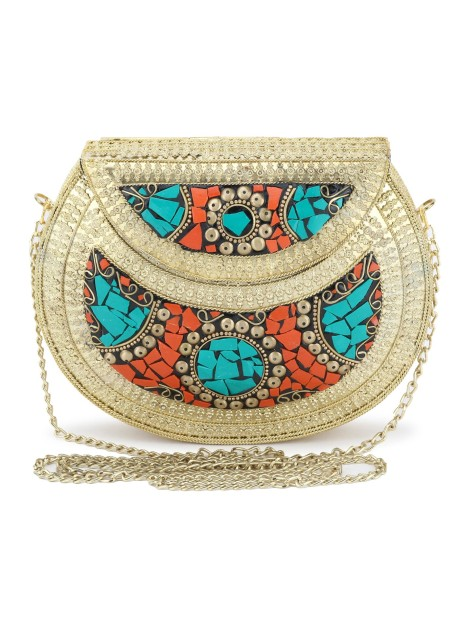 Voila Stylish Antique Ethnic Handmade Party Metal Clutch For Women - Multicolor