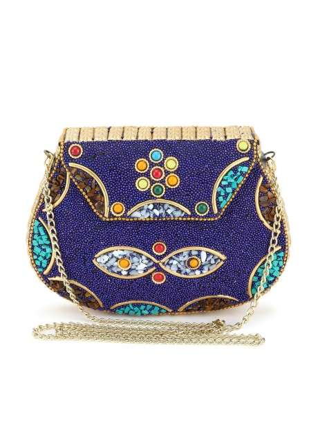 Voila Stylish Antique Ethnic Handmade Party Metal Clutch For Women - Blue