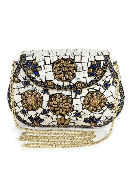 Voila Women's White Chipped Stone Handmade Brass Clutch