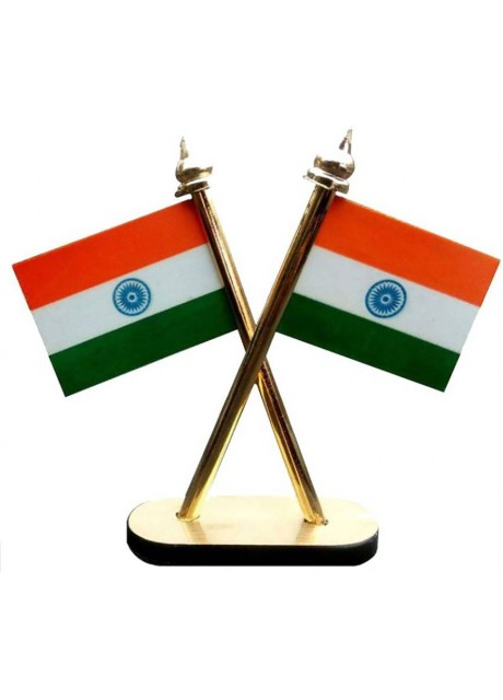 India Double Sided Wind Car Dashboard Flag