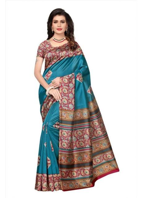 bc27ff8f0 Voila Floral Print Mysore Art Silk Saree (Blue)