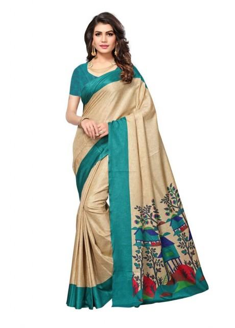 Voila Designer Printed Manipuri Cotton Silk Saree (Blue)