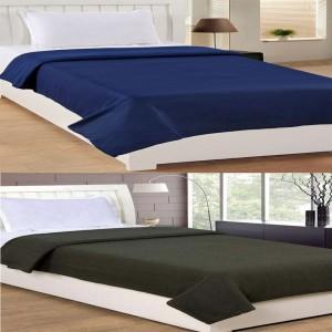 Bhavya Single Polar Fleece Plain Blanket Set of 2 ( Blue Green)