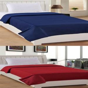 Bhavya Single Polar Fleece Plain Blanket Set of 2 ( Blue Maroon )