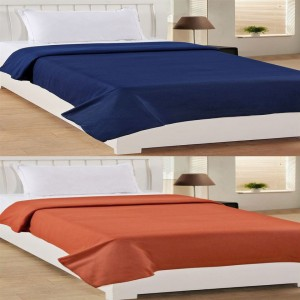 Bhavya Single Polar Fleece Plain Blanket Set of 2 ( Blue Brown )