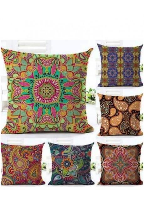 Bhavya Set of 5 Jute Cushion Covers 40X40 cm (16X16)