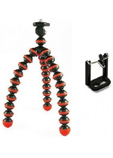 PRAJO 6 inch Lightweight Flexible Gorillapod Tripod With Mobile Attachment For Action Cameras & Smartphones Tripod  (Black, Red, Supports Up to 300)
