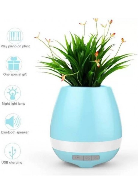 PRAJO Bluetooth Flower Pot Speaker Touch Sensitive Smart Led Colorfull Light Smart Plant Container 3 W Bluetooth Speaker  (Blue, Stereo Channel)