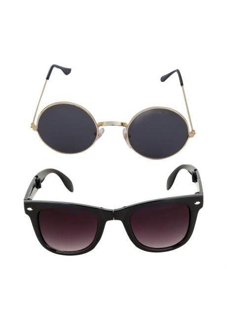 Voila Unisex UV Protection Sunglasses Combo Round & Black