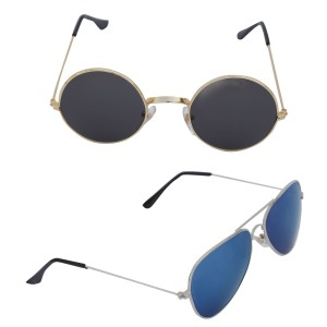 Voila Unisex UV Protection Sunglasses Combo Black & Blue