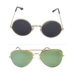 Voila Unisex UV Protection Sunglasses Combo Black & Green