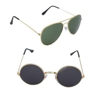 Voila Unisex UV Protection Sunglasses Combo Green & Round Black