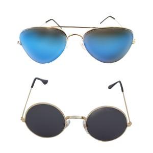 Voila Unisex UV Protection Sunglasses Combo Blue & Black