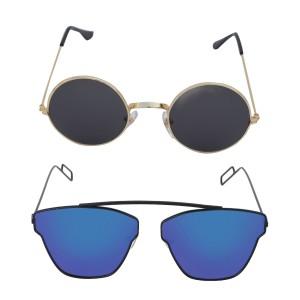 Voila Unisex UV Protection Sunglasses Combo Round Black & Blue