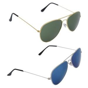 Voila Unisex UV Protection Sunglasses Combo Green & Blue