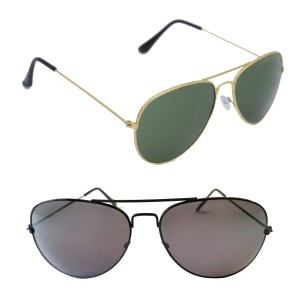 Voila Unisex UV Protection Sunglasses Combo Green & Black