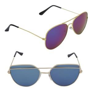 Voila Unisex UV Protection Sunglasses Combo of Blue