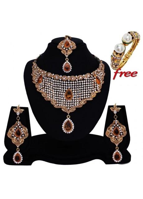 Soni Art  Alloy LCD + White  Latest diamond bridal necklace set jewellery (0144)