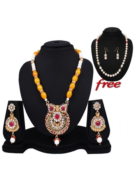 Soni Art  Party wear Opaque Light Yallow Glass Beats  fashion Mala Set (0152)
