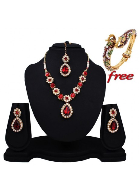 Soni Art  Trendy  Maroon Diamond Necklace Set (0158)