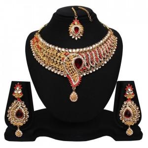 Soni Art Red Diamond With Kundan Necklace Set Jewellery (0169)