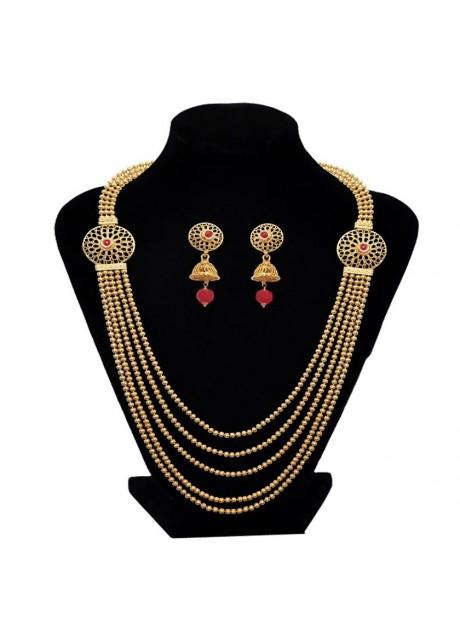 Soni Art   Womens Trendz Brass Mani Five Line Mala Set(0186)