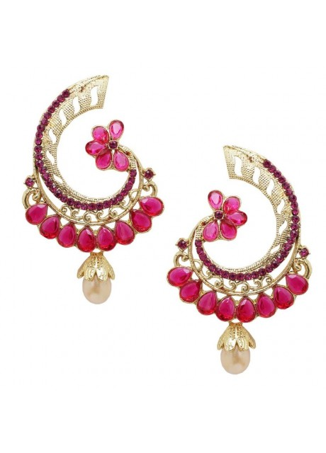 Soni Art  Elegant Look Dark pink  Designer Earring (0243)