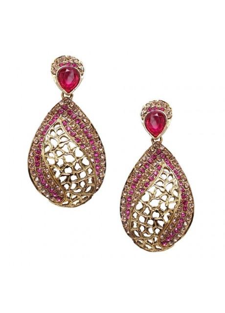 Soni Art  costume fashion Pink Crystal earring (0249)