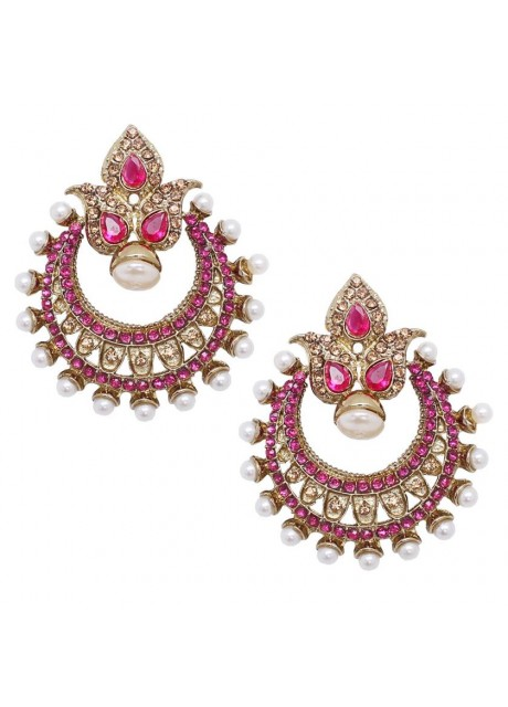Soni Art Festive kundan pearl antque gold plated chaand bali earring (0250)
