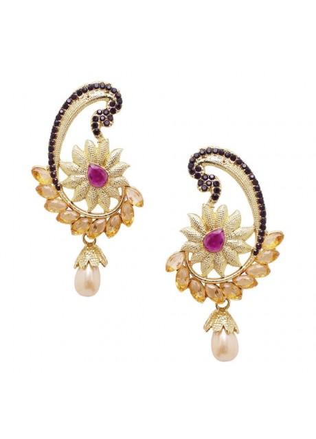 Soni Art  Gold Plating Purple crystal earrings(0251)