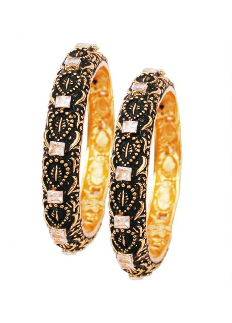 Soni Art Alloy Brass Black Oxidise Gold Plated AD Bangles (0350)