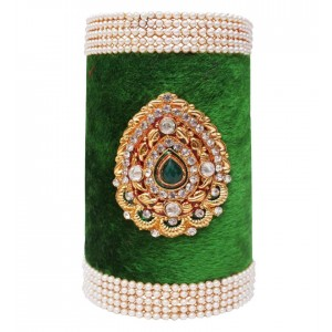 Soni Art Alloy Green Wellvet With Pearl Beads Traditional Kada (0362)