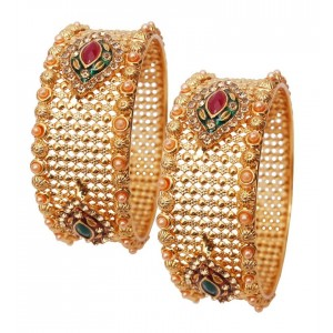 Soni Art Alloy Gold Plated Golden Diamond & Pearl Bangles (0363)