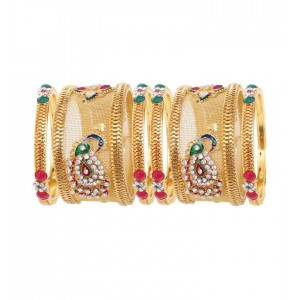 Soni Art Alloy  Gold Plated  Peacock Design Wedding Wear 6pcs Bangles (0366)