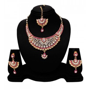 22dccdd92 Soni Art Alloy Gold Plated Trendy Pink & White Necklace Set (0420)