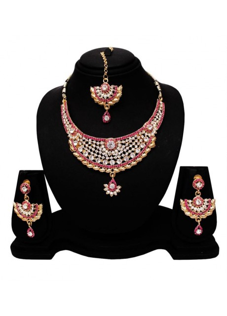 Soni Art Alloy Gold Plated Trendy Pink & White Necklace Set (0420)