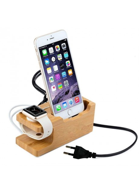 Shopizone® Natural Bamboo Wooden Stand Charging Dock [Triple USB] Mobile Holder for iPhone and iWatch(38mm and 42mm)