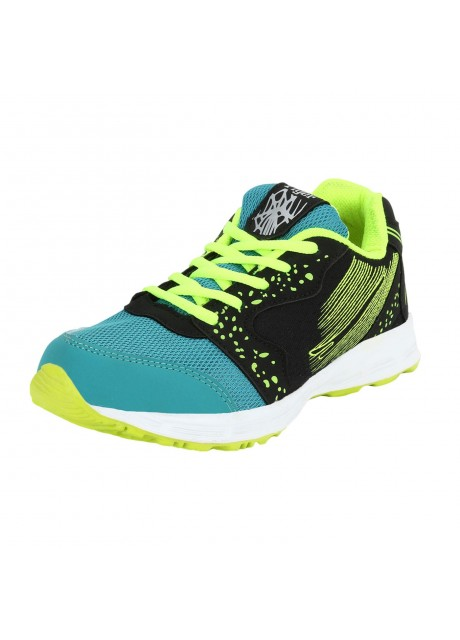 Flyer Black Green Kids Sports Shoes