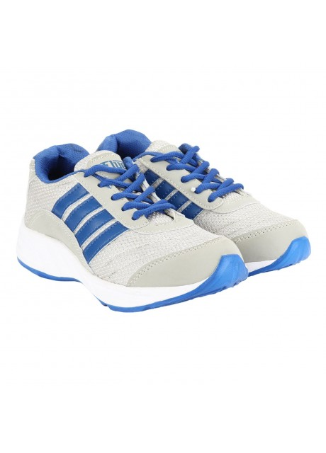 Flyer Light Grey Blue Kids Sports Shoes