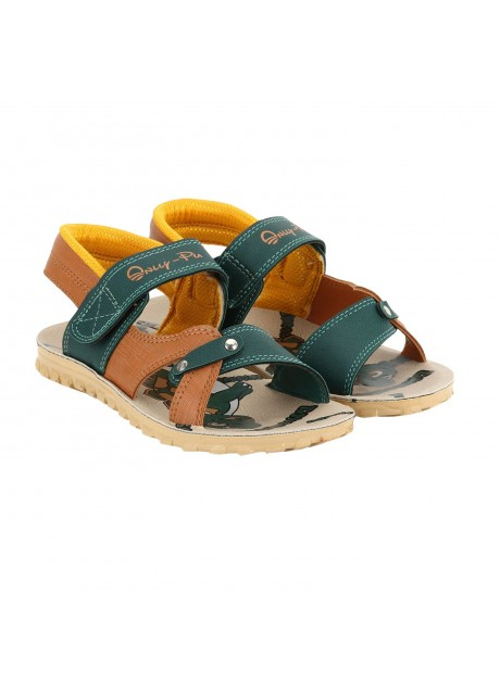 Airform Dino Green Tan Color Kids Sandal