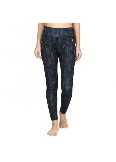Delta Women Elastic Waist  Printed Casual Slim Fit Ankle Leggings Pants