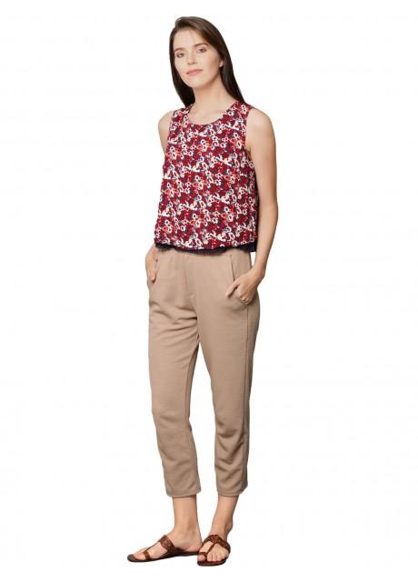 Pitara Rayon Red Printed Women Crop Top